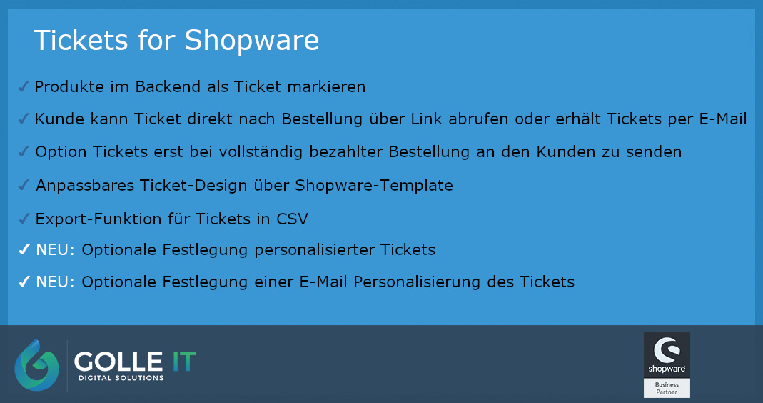 Tickets for Shopware